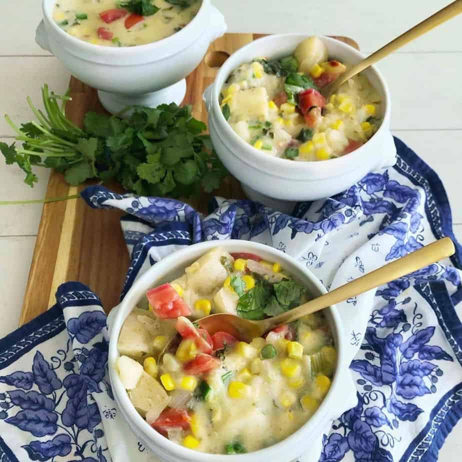 Coconut Corn Chowder in 3 dishes. featured image