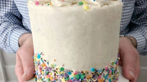 white frosted cake with sprinkles being held