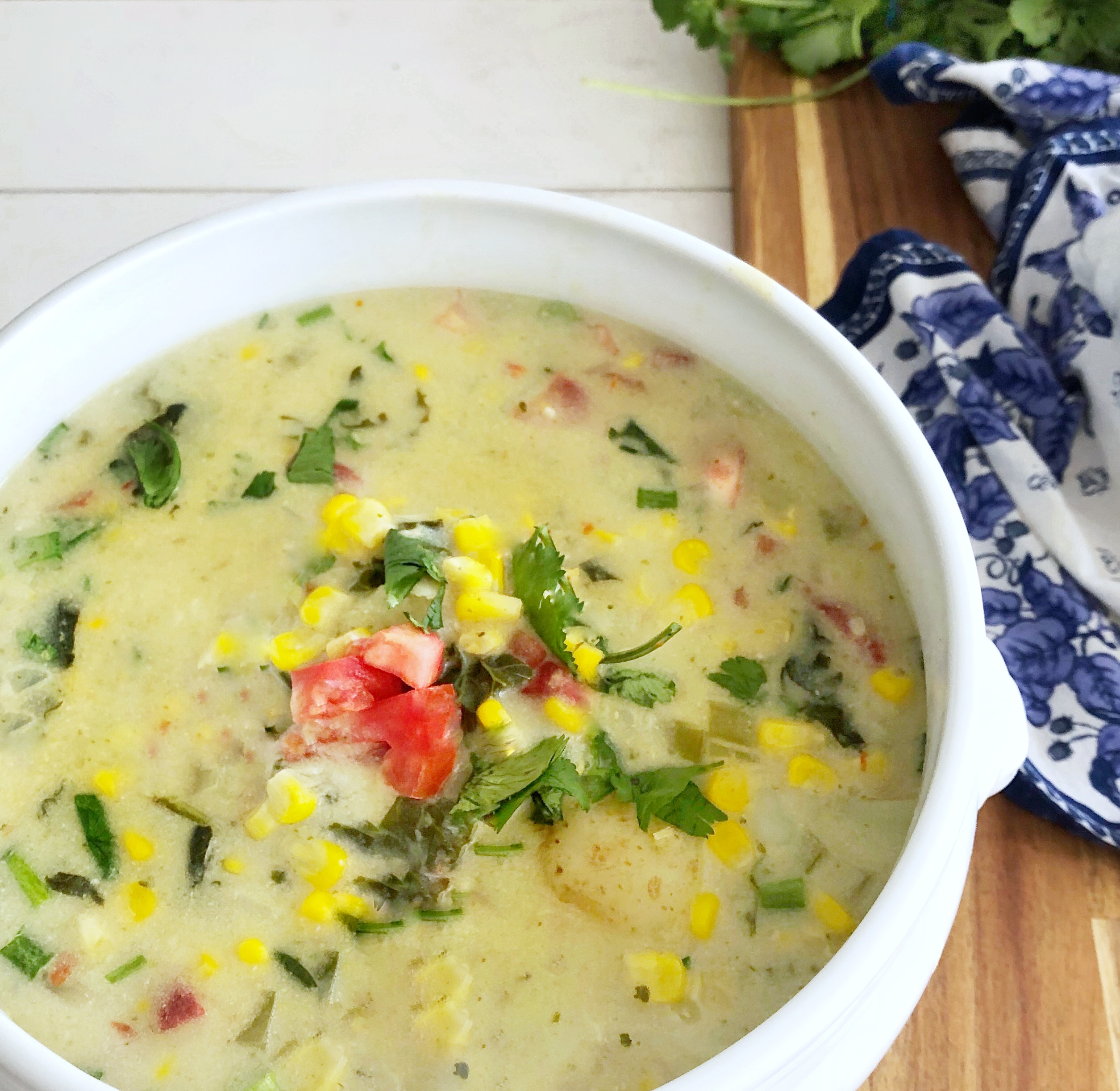 large bowl of coconut corn chowder