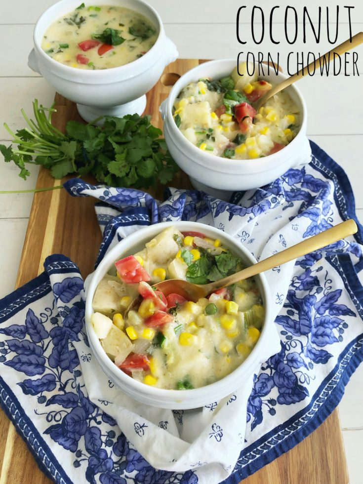 Thai inspired Coconut Corn Chowder with potatoes, tomatoes, kale, green onion, ginger, lemongrass, cumin, cilantro and lime is bursting with fresh, bright flavors.