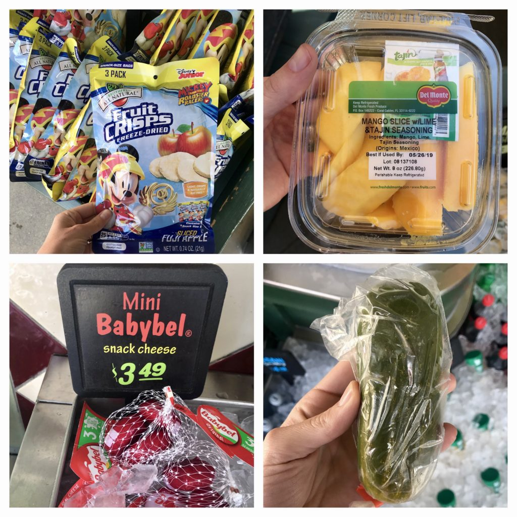 fresh fruit and snacks available at Disneyland--freeze dried apples, mango, cheese, pickle