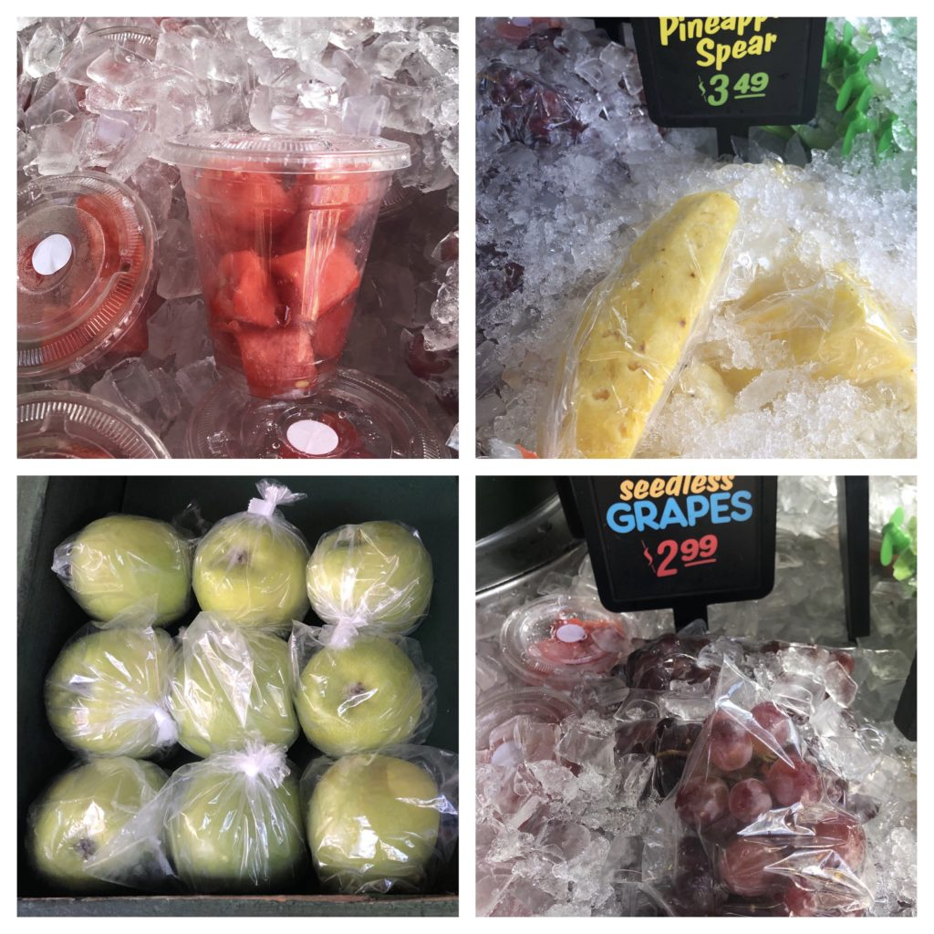 fresh fruit and snacks available at Disneyland--watermelon, pineapple, apple, grapes