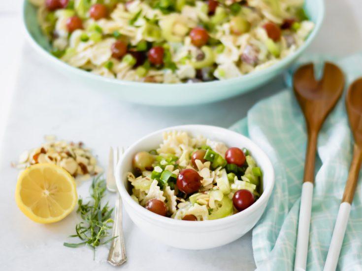 Lemon Tarragon Pasta Salad in a serving bowl and small bowl