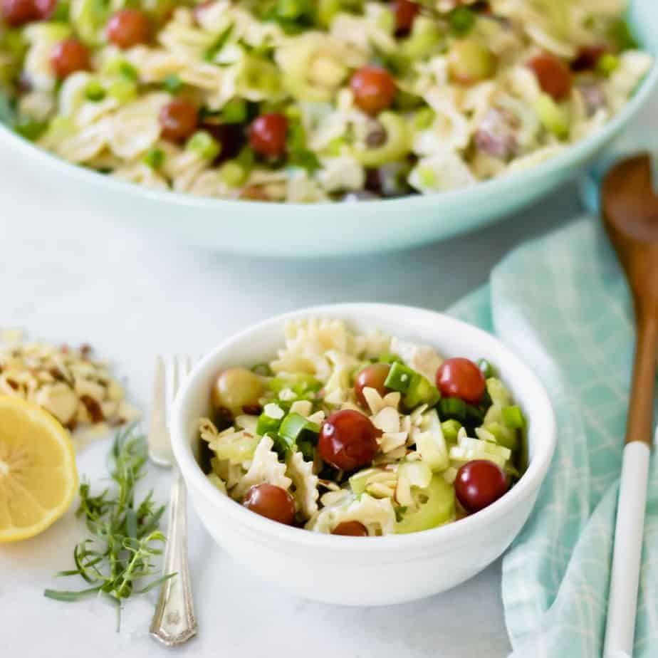 two bowls of lemon tarragon pasta salad, the best salad recipe