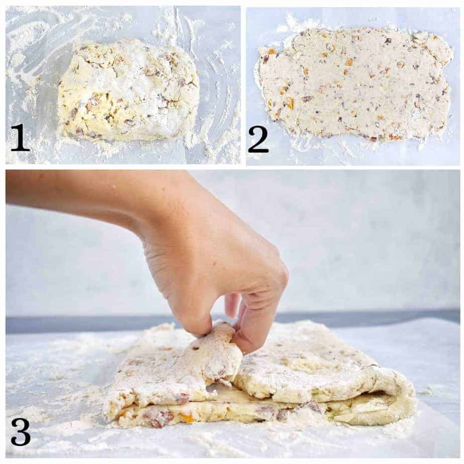 3 images showing how to laminate dough