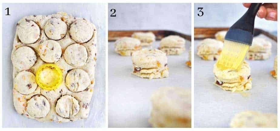 3 images showing how to cut out biscuits