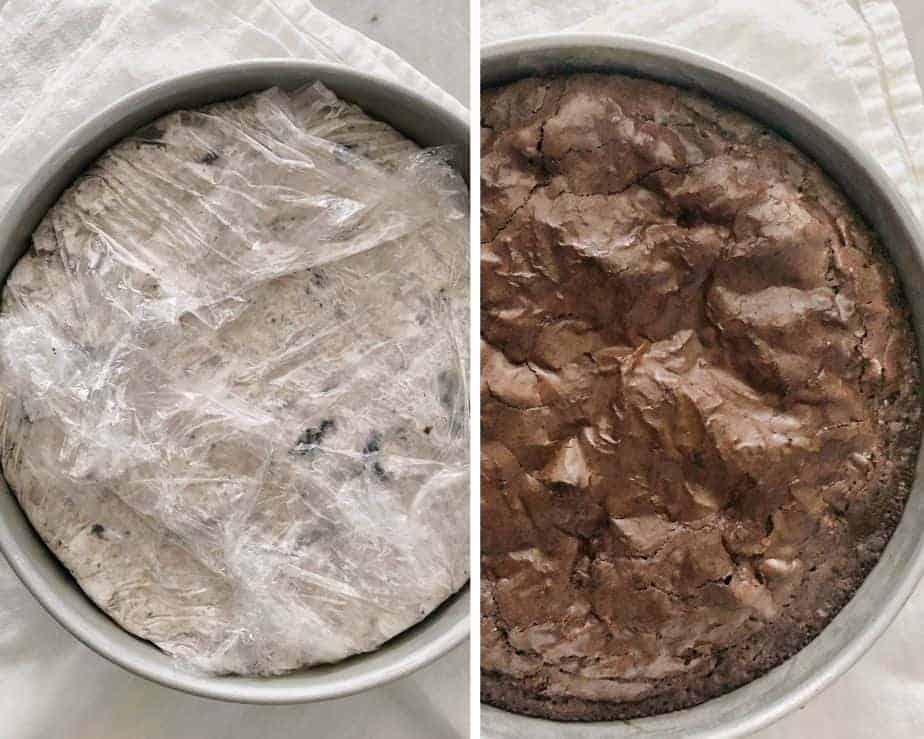 2 round pans: brownie and Oreo ice cream