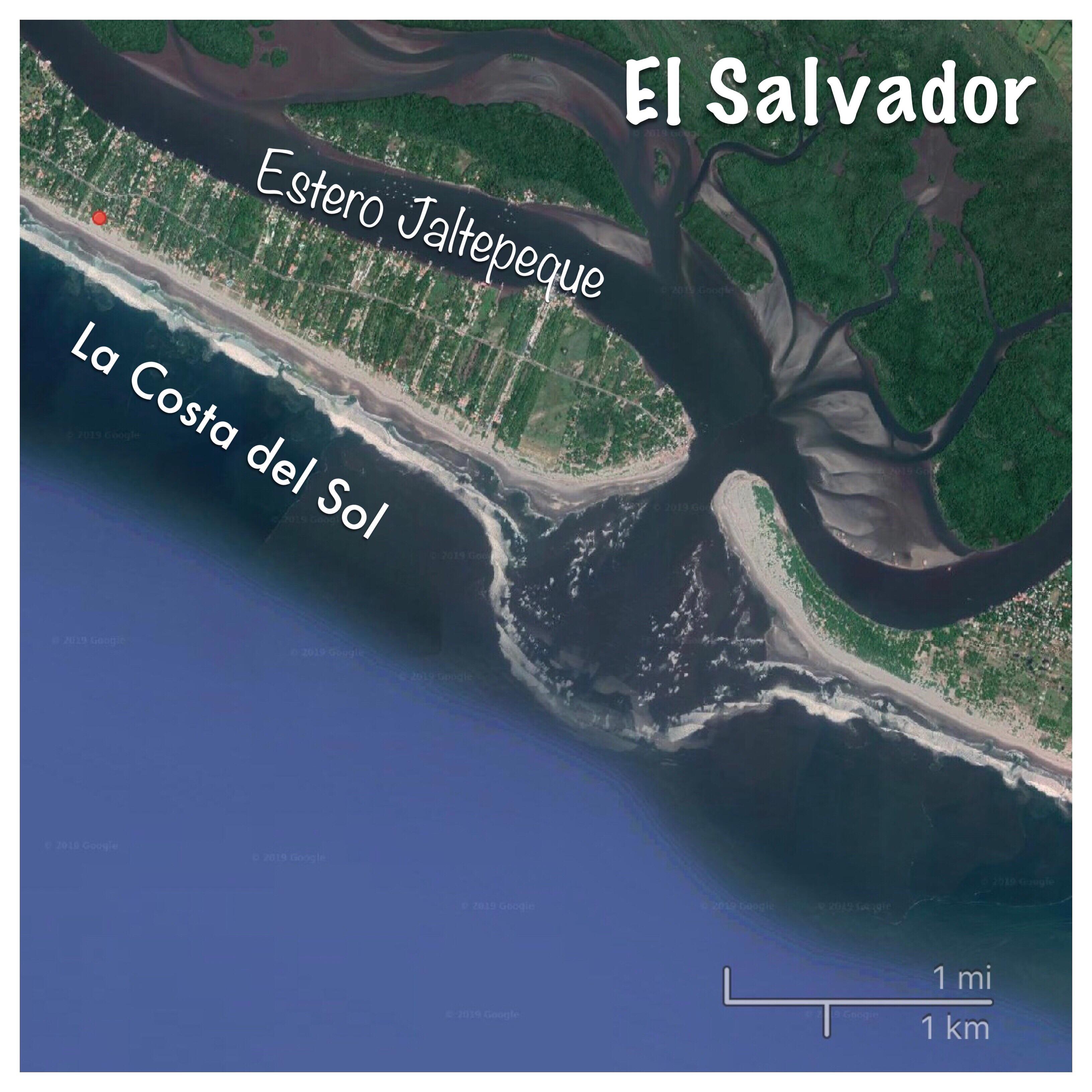 map of El Salvador's La Costa del Sol and Estero Jaltepeque