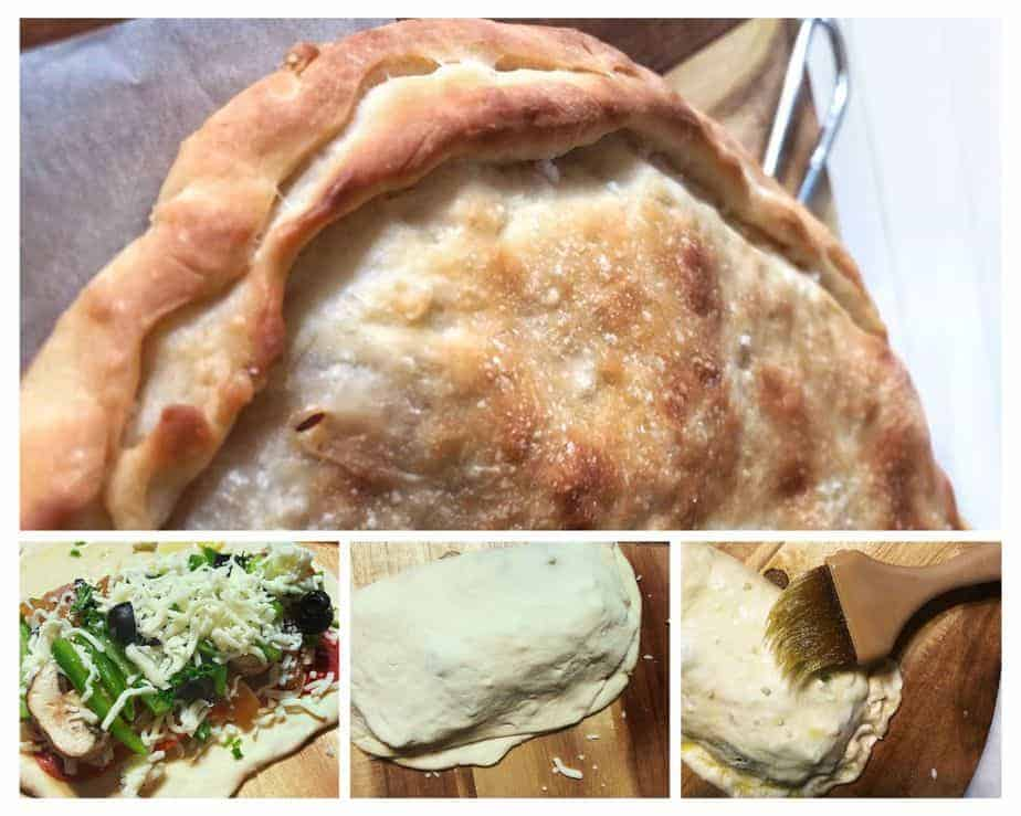 Calzone making. Filling dough process.