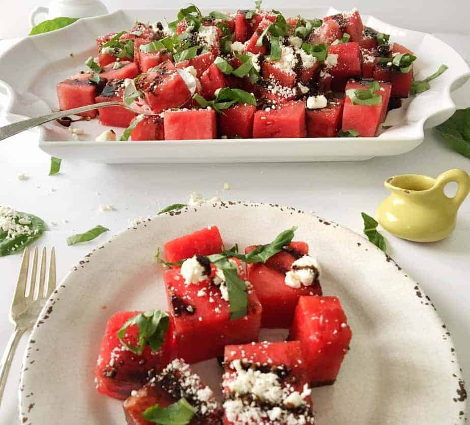 platter and salad plate with Watermelon, Basil, Feta Salad