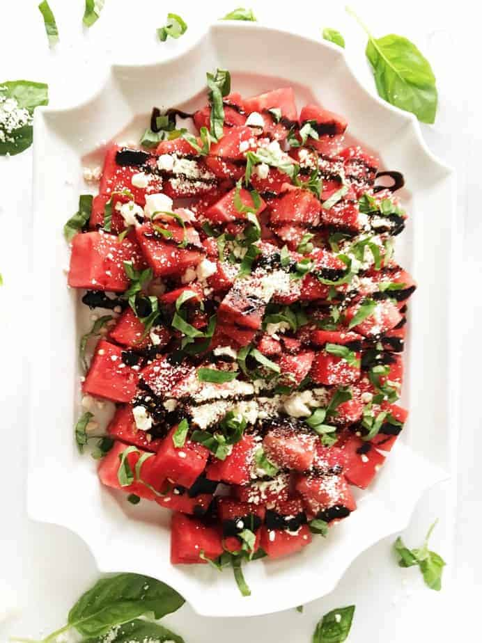 platter of watermelon feta basil salad