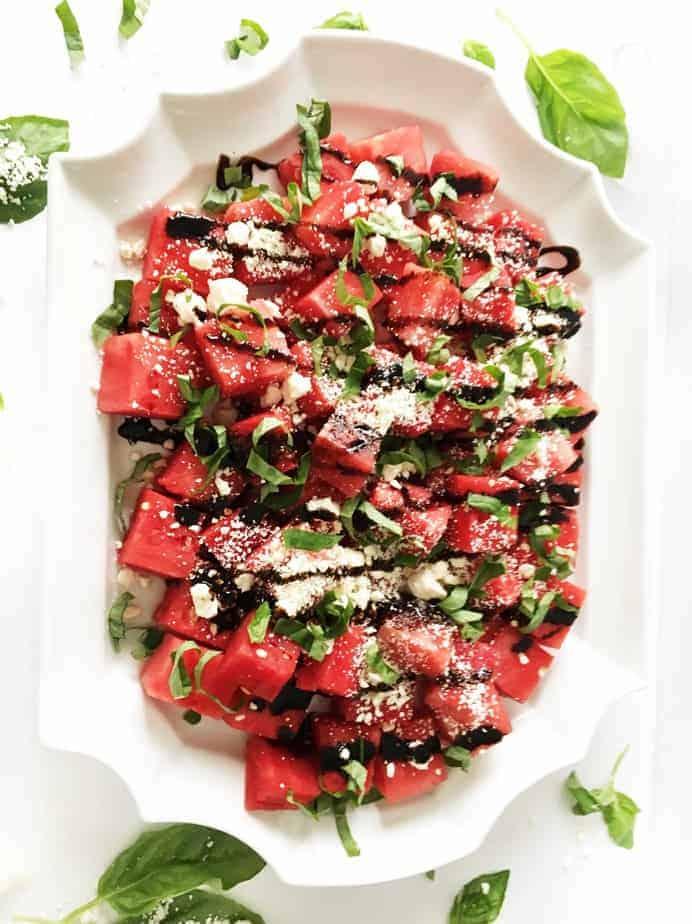 platter of watermelon feta basil salad