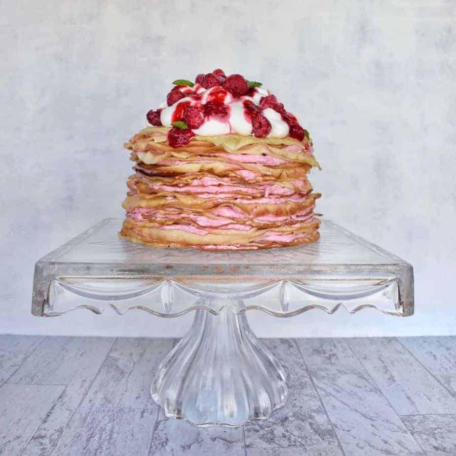 crepe cake on cake stand