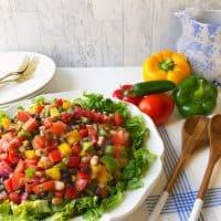 Black & white Bean Salad on white platter.