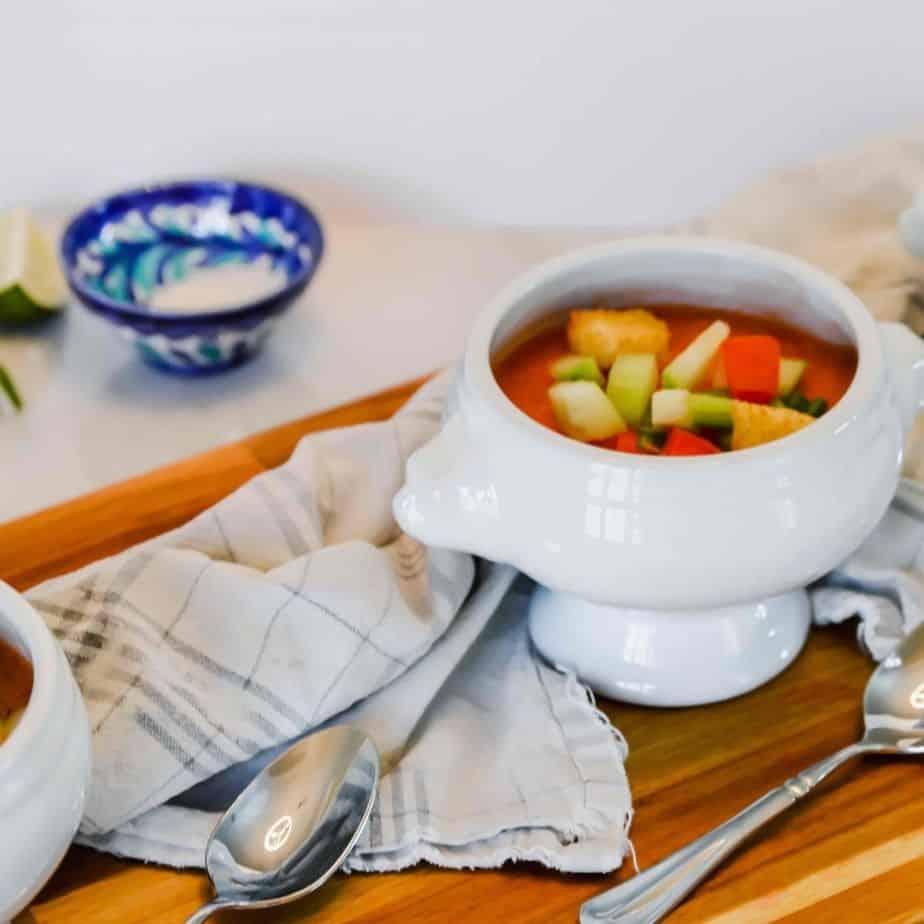 gazpacho soup in white bowl