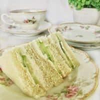 cucumber tea sandwiches on china plate.