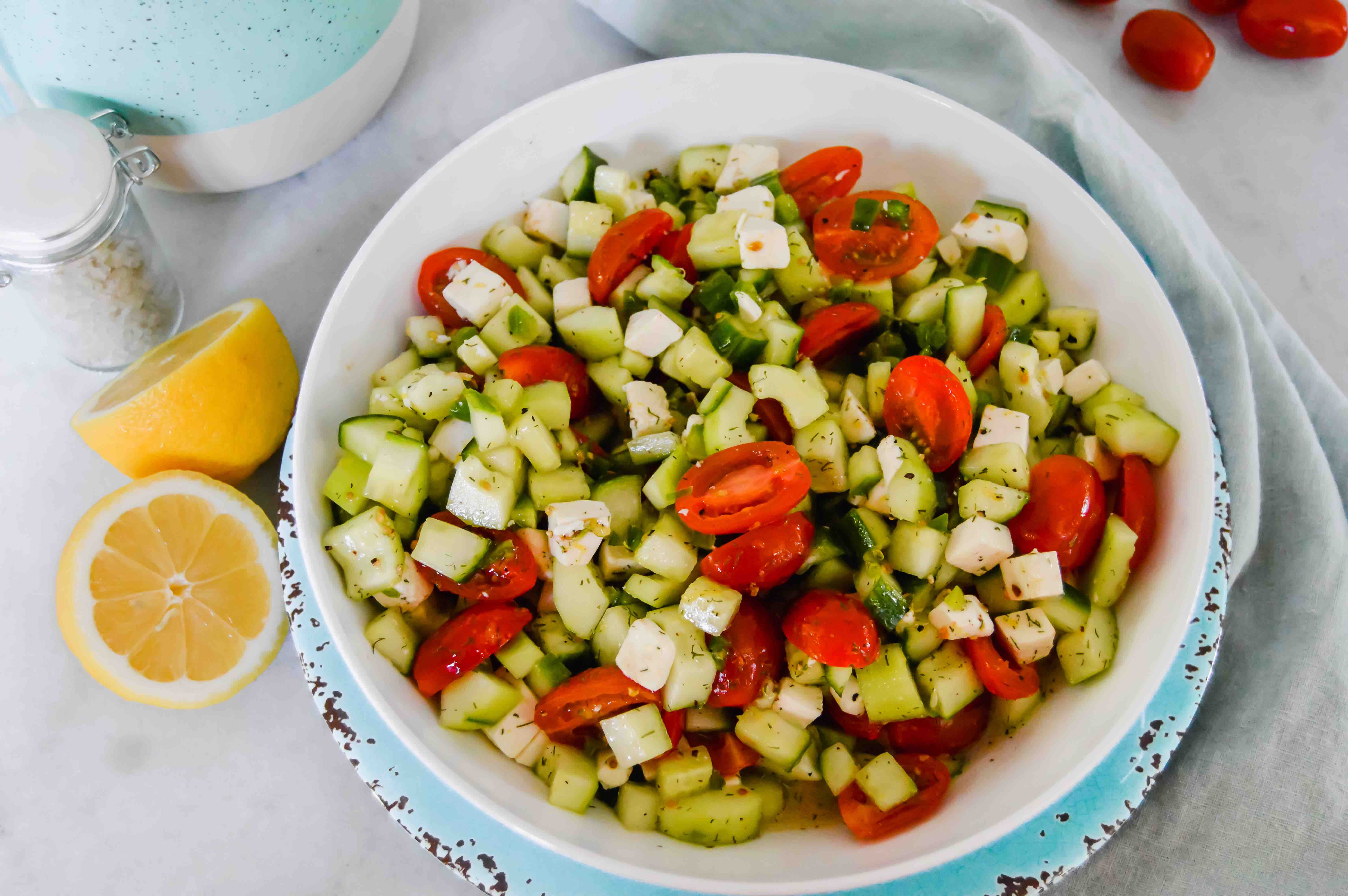 white bowl of mediterranean salad