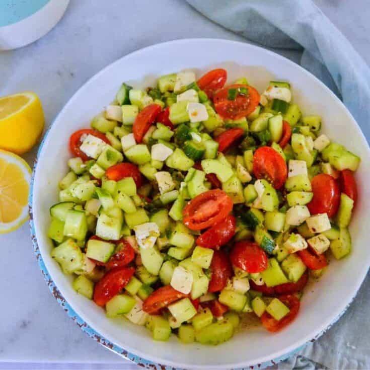 white bowl of Mediterranean salad. featured image