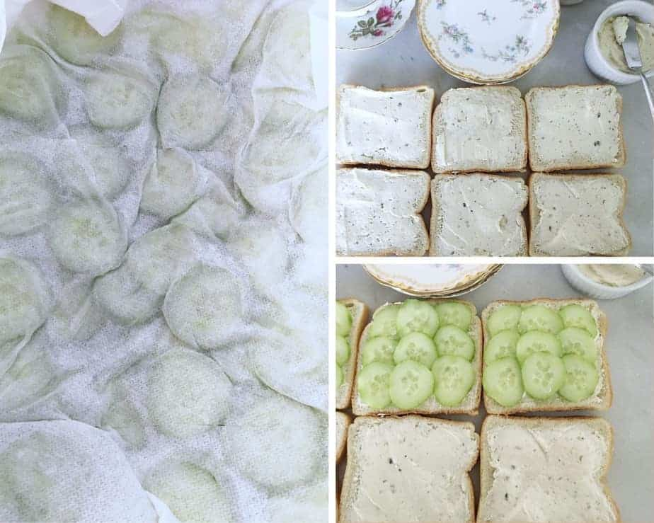 cucumber sandwich prep with spread and sliced cucumbers