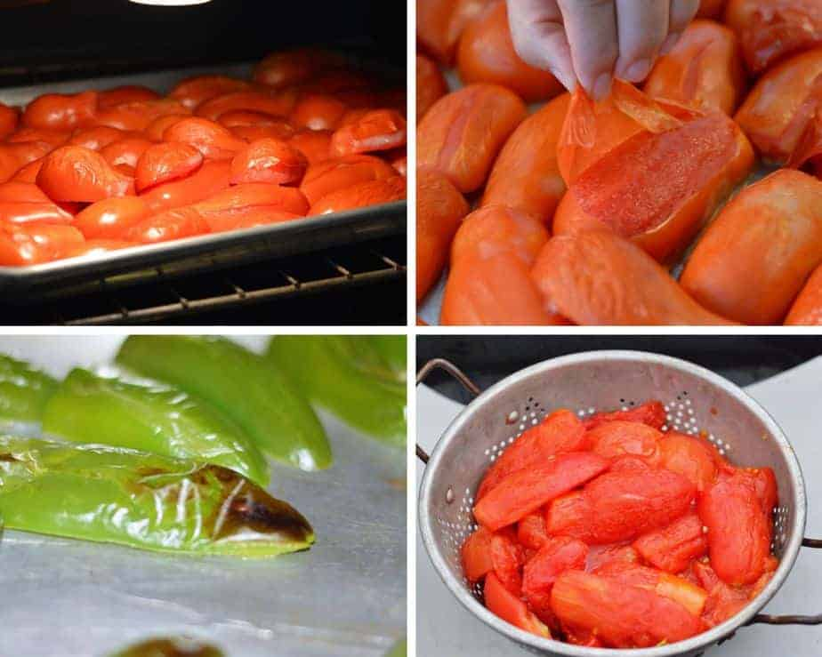 picture collage of tomatoes and jalapeños in making salsa
