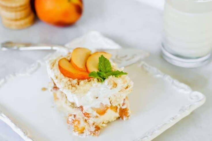 Peaches and Cream dessert slice with server.