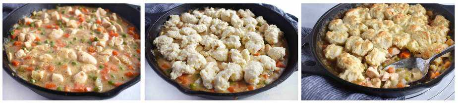chicken pot pie process, 3 images, sauce, uncooked topping, cooked biscuit topping