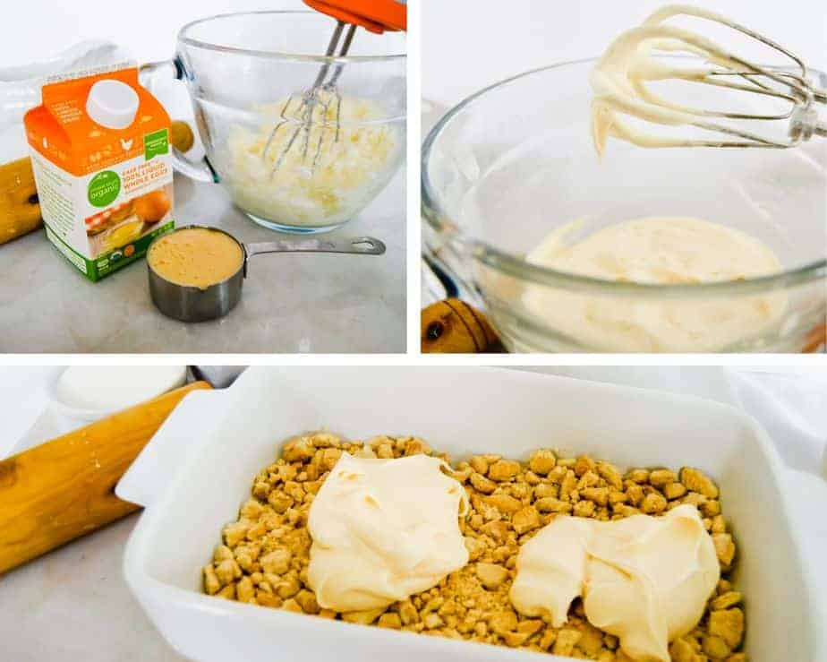 picture collage of making creamy filling for peach dessert
