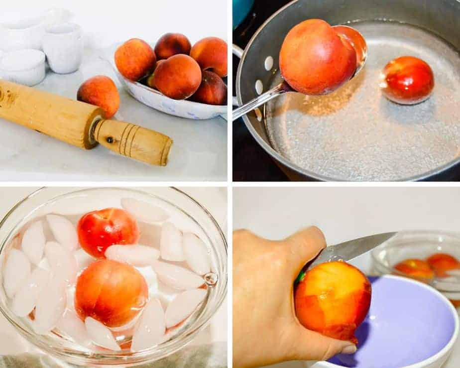 showing how to peel peaches easily