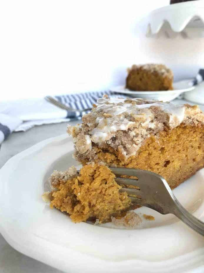 fork taking a bite out of coffee cake slice
