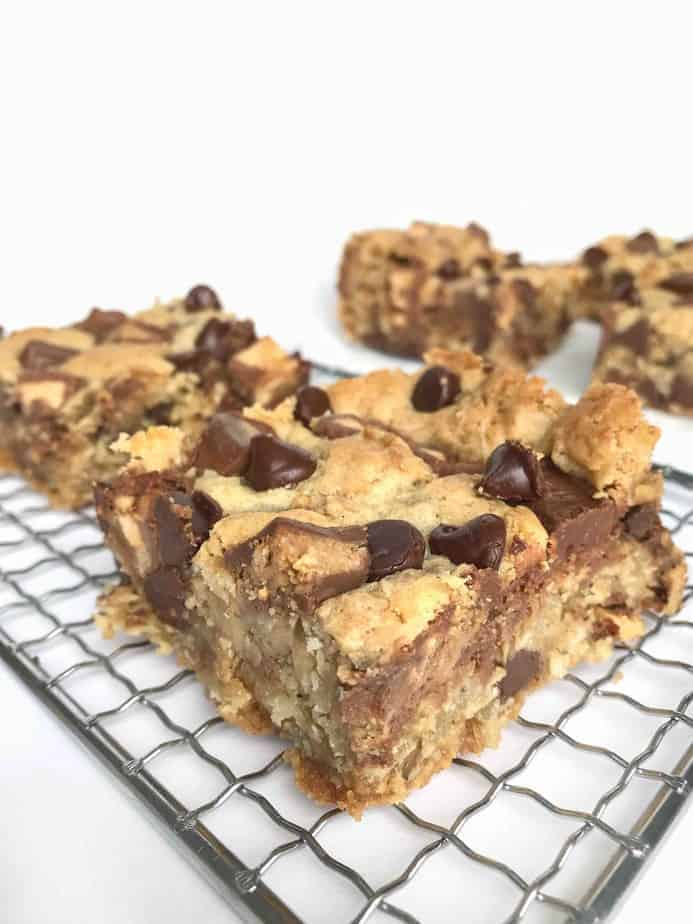 cookie bars on cooling rack