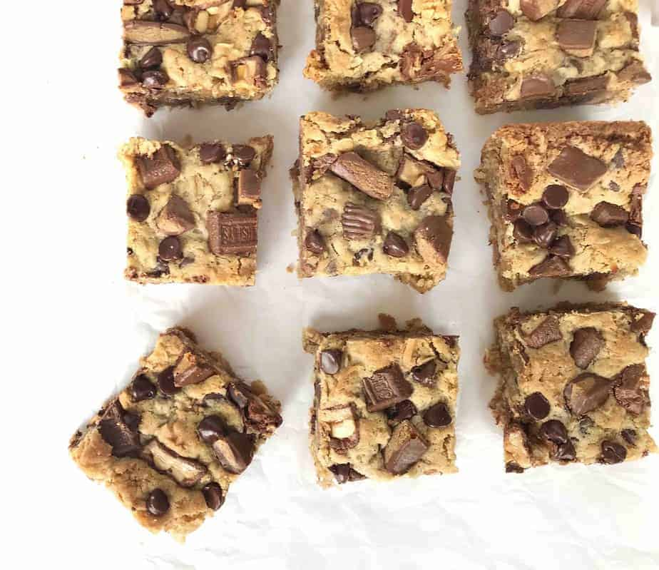 overhead shot of squares of cookie bars