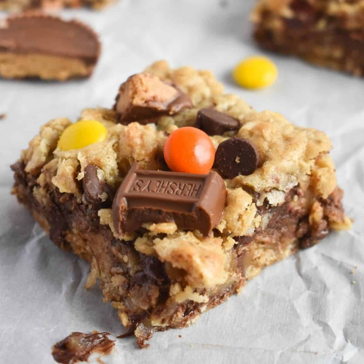 close up of halloween candy cookie bar
