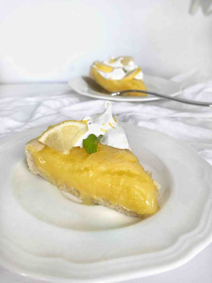 slice of lemon pie on plate