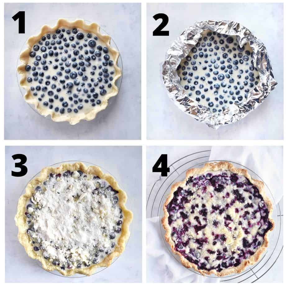 4 images showing: 1) unbaked blueberry pie, 2) pie edges covered with foil, 3) crumble topping added, 4) pie finished baked