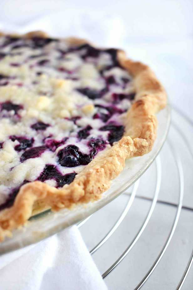 close up of crust on blueberry pie