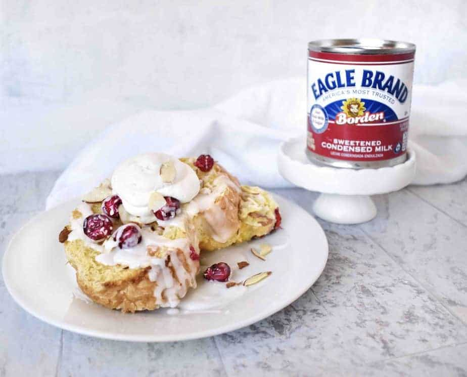 slice of cranberry almond baked french toast