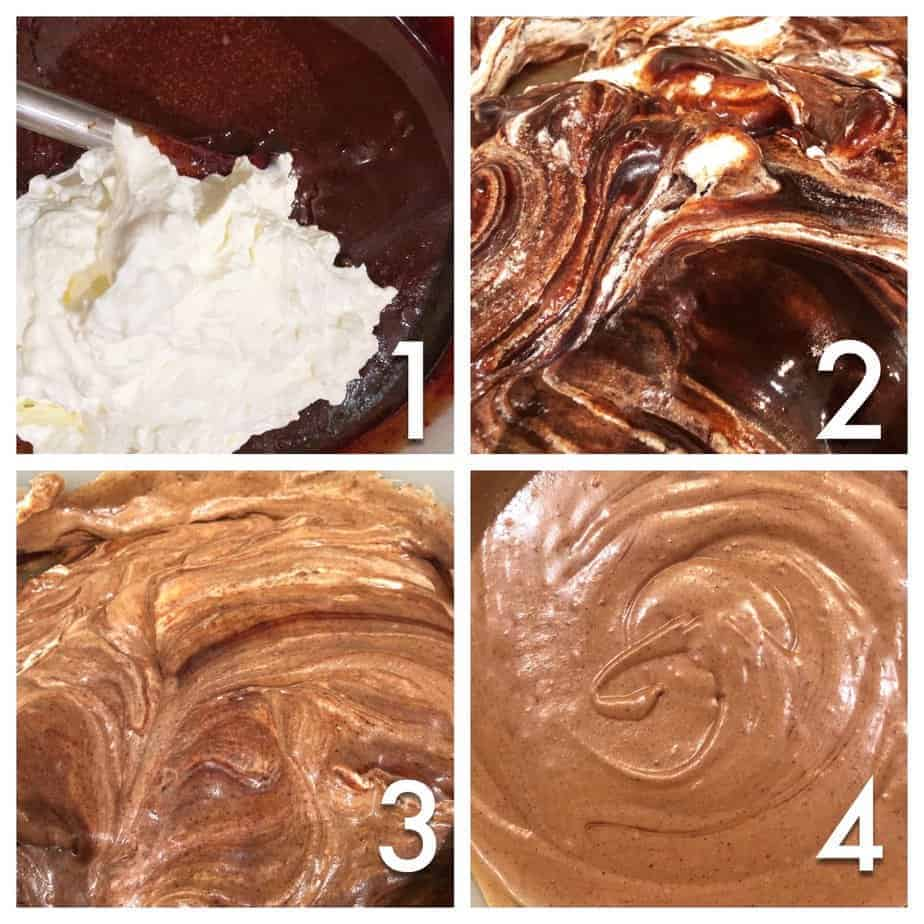 4 pics: fresh whipped cream and dark chocolate fudge are folded together in four pictures