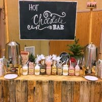 hot chocolate bar with sign