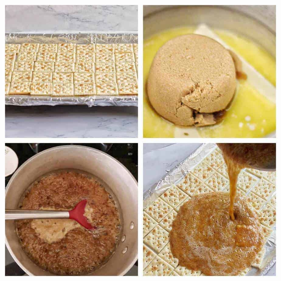 collage of steps to make soda cracker toffee