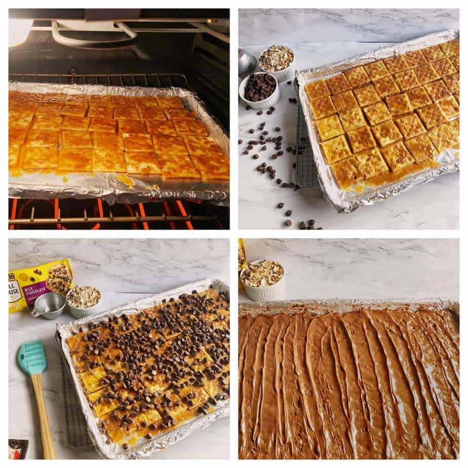 second set of process pictures for soda cracker toffee
