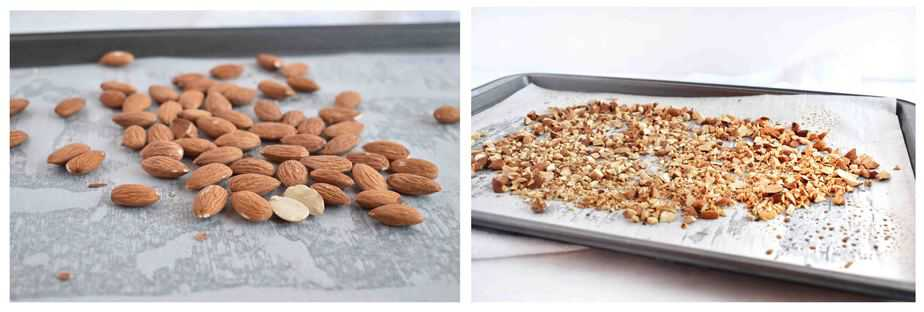 two images: whole almonds and chopped toasted almonds