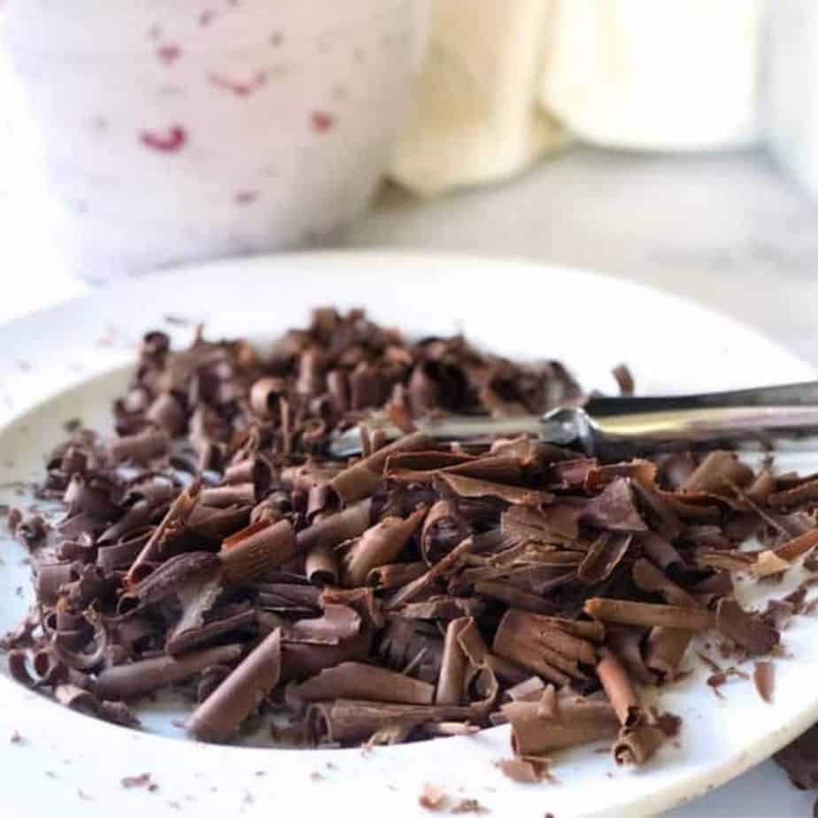 chocolate curls on white plate