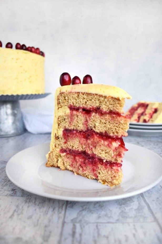cranberry orange brown sugar cake slice