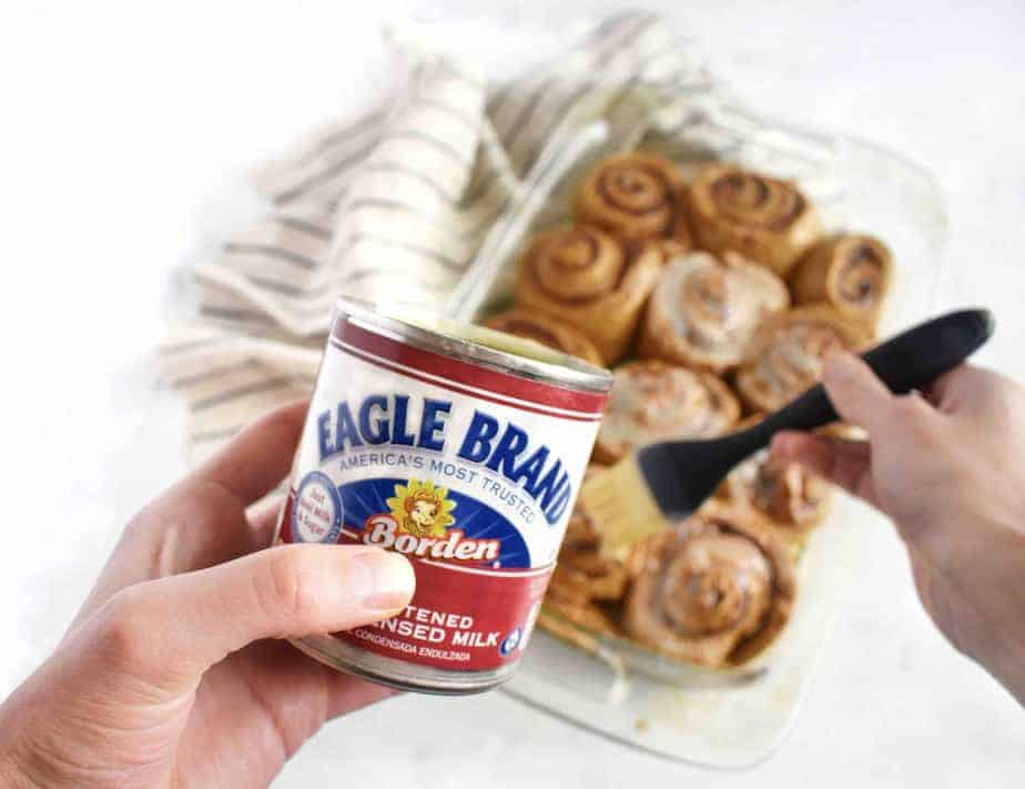baste the gingerbread cinnamon rolls with sweetened condensed milk