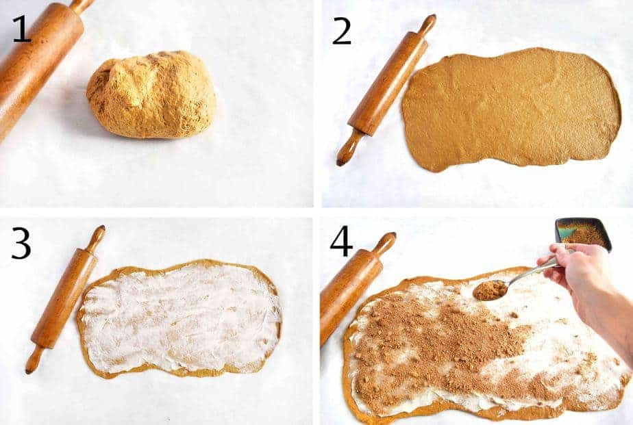 4 images showing how to roll out your gingerbread dough and add your filling