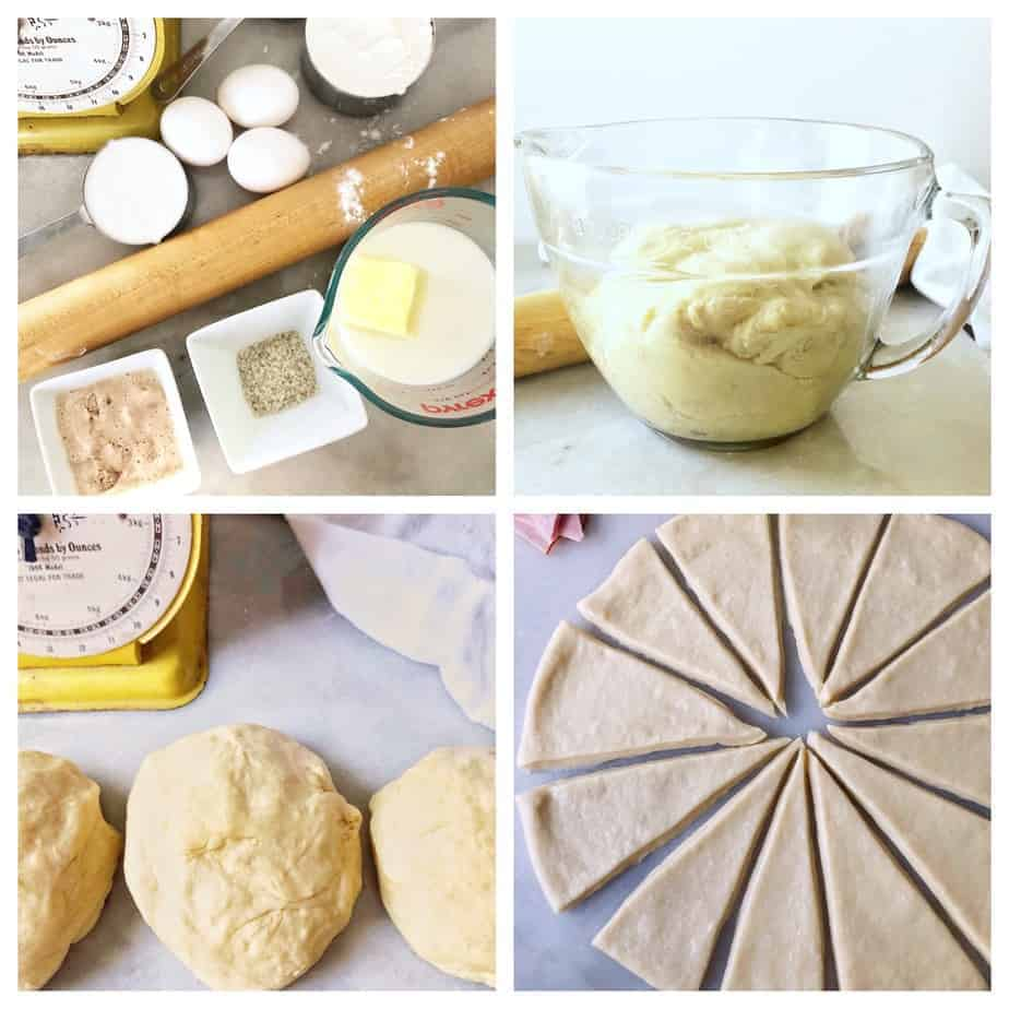 collage of dough making for ham and cheese rolls