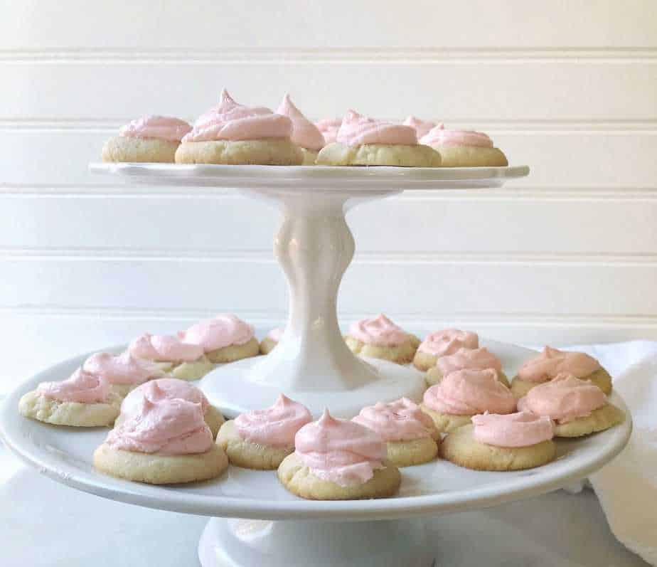 tiered platters of pressed almond sugar cookies