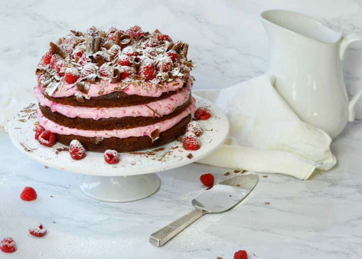 3 layer chocolate raspberry cake on white stand