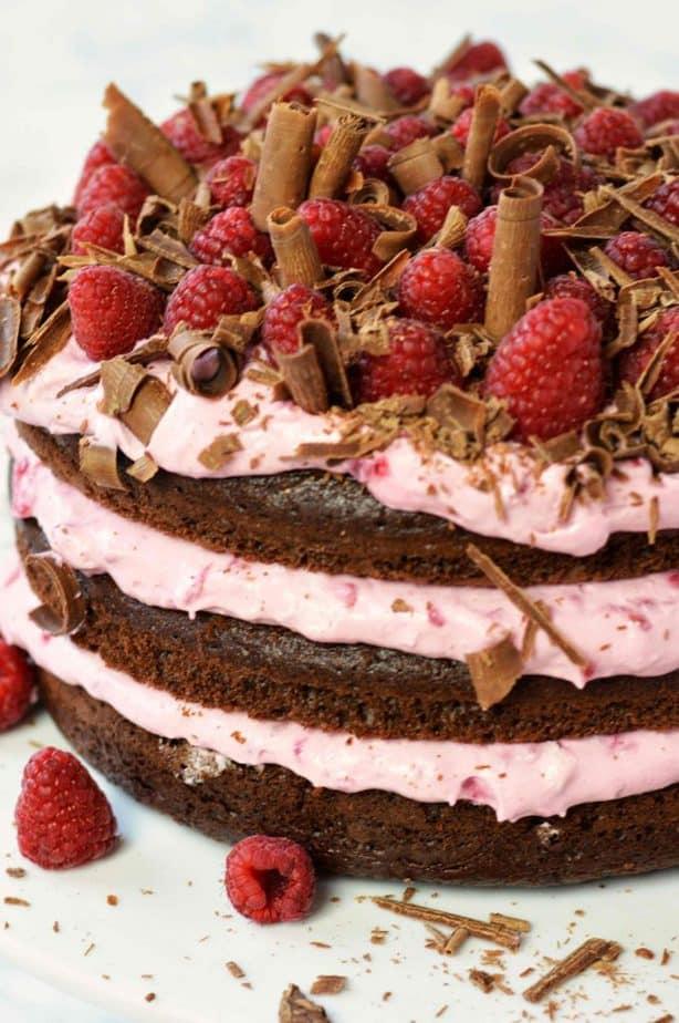 close up of Chocolate raspberry layer cake