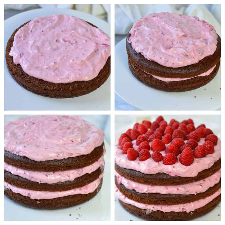 4 pictures showing how to put the filing between 3 cake layers for Chocolate raspberry layer cake
